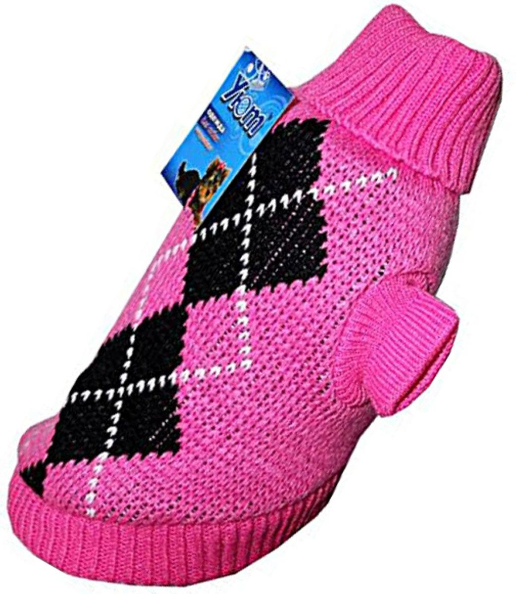 Свитер для собак Уют, для девочки, цвет: розовый. НМ11ХС. Размер XSНМ11ХСКрасивый вязаный свитер для собак Уют выполнен из акрила. Рукава, воротник и низ изделия дополнены эластичными трикотажными резинками для плотного прилегания. Модель декорирована красивым рисунком в виде ромбов. В таком свитере вашей собачке будет тепло и уютно. Обхват шеи: 22-24 см.Обхват груди: 27-33 см.Длина спинки: 20 см.