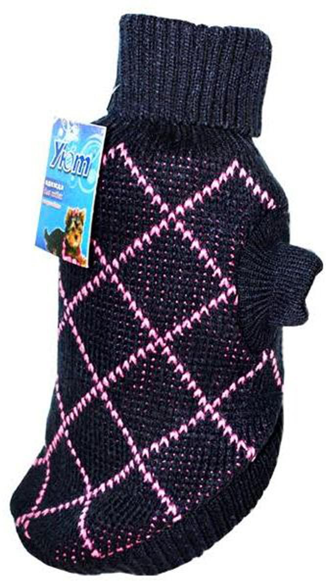 Свитер для собак Уют, унисекс, цвет: синий, сиреневый. НМ14М. Размер MНМ14МКрасивый вязаный свитер для собак Уют выполнен из акрила. Рукава, воротник и низ изделия дополнены эластичными трикотажными резинками для плотного прилегания. Модель декорирована красивым принтом в виде ромбов. В таком свитере вашей собачке будет тепло и уютно. Обхват шеи: 27-30 см.Обхват груди: 39-47 см.Длина спинки: 30 см.Одежда для собак: нужна ли она и как её выбрать. Статья OZON Гид