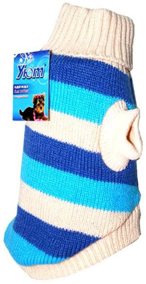 Свитер для собак Уют, унисекс, цвет: белый, голубой. НМ1Л. Размер LНМ1ЛКрасивый вязаный свитер для собак Уют выполнен из акрила. Рукава, воротник и низ изделия дополнены эластичными трикотажными резинками для плотного прилегания. Модель декорирована полоской. В таком свитере вашей собачке будет тепло и уютно. Обхват шеи: 29-33 см.Обхват груди: 46-54 см.Длина спинки: 35 см.Одежда для собак: нужна ли она и как её выбрать. Статья OZON Гид
