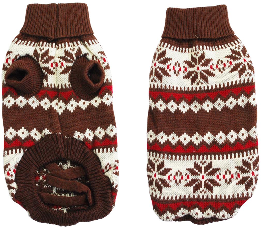 Свитер для собак  Уют , унисекс, цвет: коричневый, красный. НМ20ХЛ. Размер XL - Одежда, обувь, украшения - Одежда