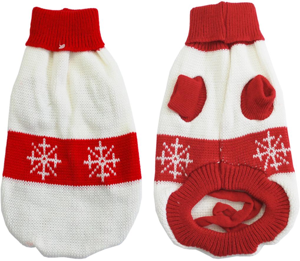 Свитер для собак Уют Снежинка, унисекс, цвет: белый, красный. НМ21ХЛ. Размер XL