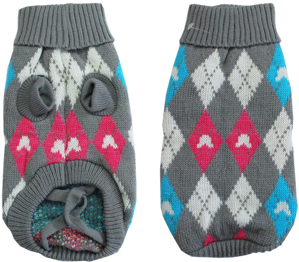 Свитер для собак  Уют , унисекс, цвет: серый, голубой, розовый. НМ22Л. Размер L - Одежда, обувь, украшения - Одежда