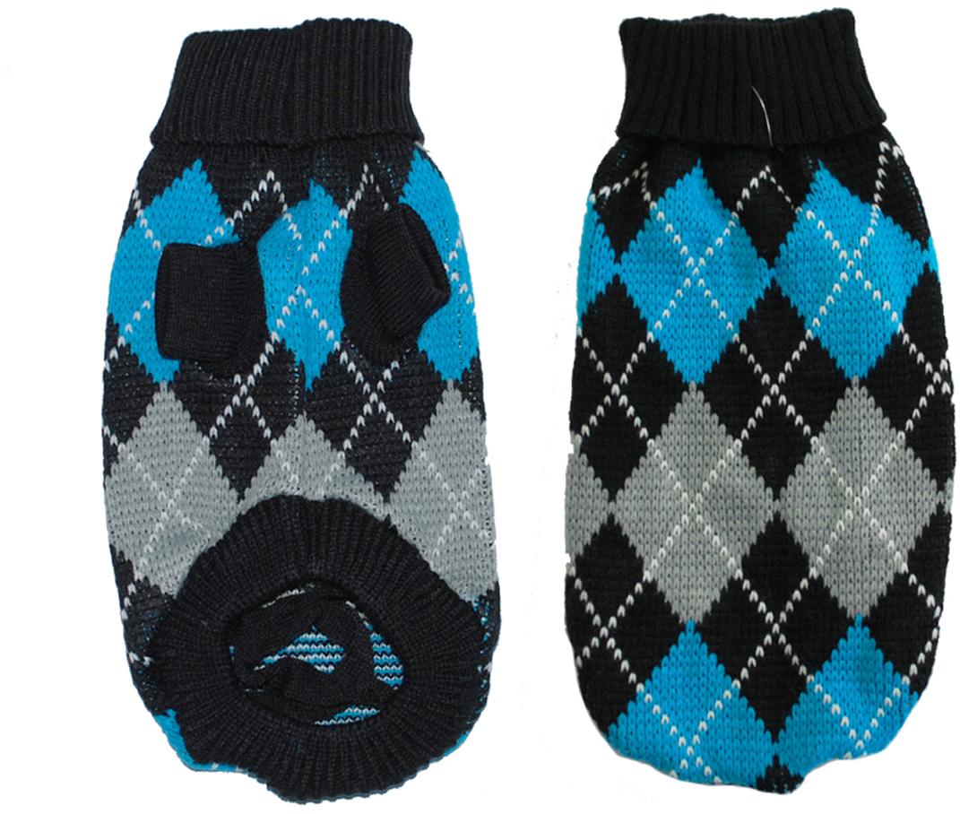 """Свитер для собак """"Уют"""", унисекс, цвет: черный, синий, серый. НМ24М. Размер M"""