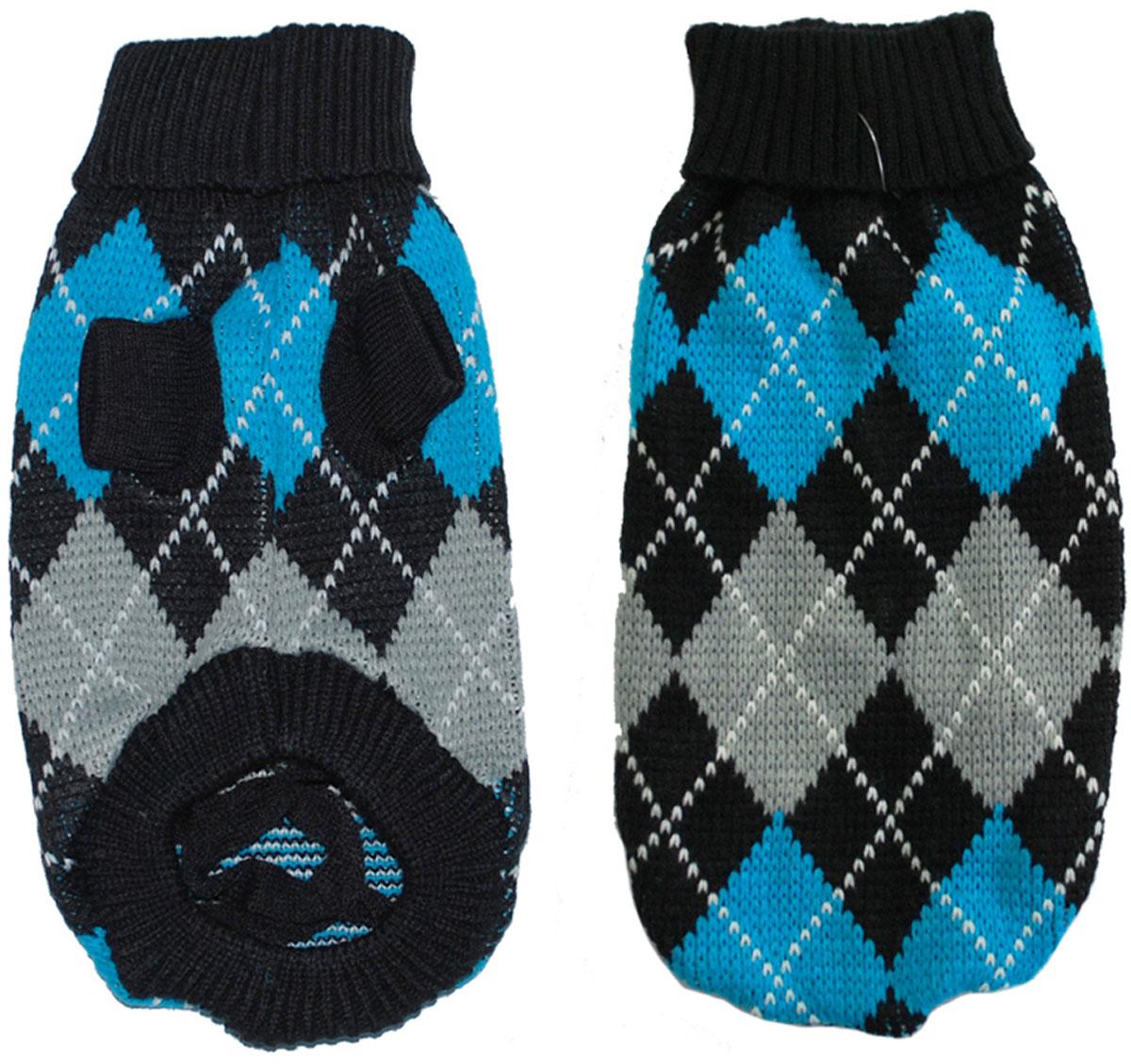 Свитер для собак Уют, унисекс, цвет: черный, синий, серый. НМ24С. Размер SНМ24СКрасивый вязаный свитер для собак Уют выполнен из акрила. Рукава, воротник и низ изделия дополнены эластичными трикотажными резинками для плотного прилегания. Модель декорирована рисунком в виде ромбов. В таком свитере вашей собачке будет тепло и уютно. Обхват шеи: 24-27 см.Обхват груди: 34-40 см.Длина спинки: 25 см.Одежда для собак: нужна ли она и как её выбрать. Статья OZON Гид