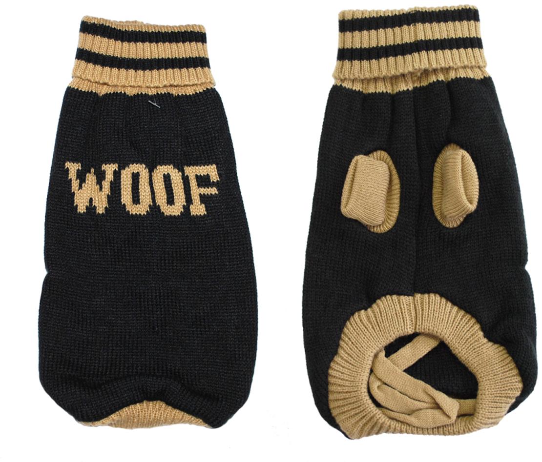 Свитер для собак Уют Woof, унисекс, цвет: черный, бежевый. НМ26-2ХЛ. Размер 2XL игрушка для собак уют шина цвет черный белый 10 см