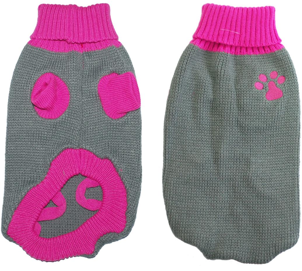 Свитер для собак Уют  Лапка , унисекс, цвет: серый, розовый. НМ29М. Размер M - Одежда, обувь, украшения - Одежда