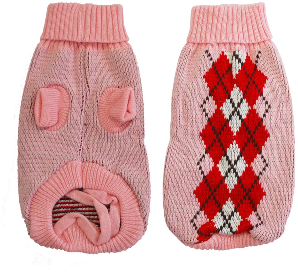 Свитер для собак Уют, для девочки, цвет: розовый, красный. НМ30ХС. Размер XSНМ30ХСКрасивый вязаный свитер для собак Уют выполнен из акрила. Рукава, воротник и низ изделия дополнены эластичными трикотажными резинками для плотного прилегания. Модель оформлена рисунком в виде ромбов. В таком свитере вашей собачке будет тепло и уютно. Обхват шеи: 22-24 см.Обхват груди: 27-33 см.Длина спинки: 20 см.Одежда для собак: нужна ли она и как её выбрать. Статья OZON Гид
