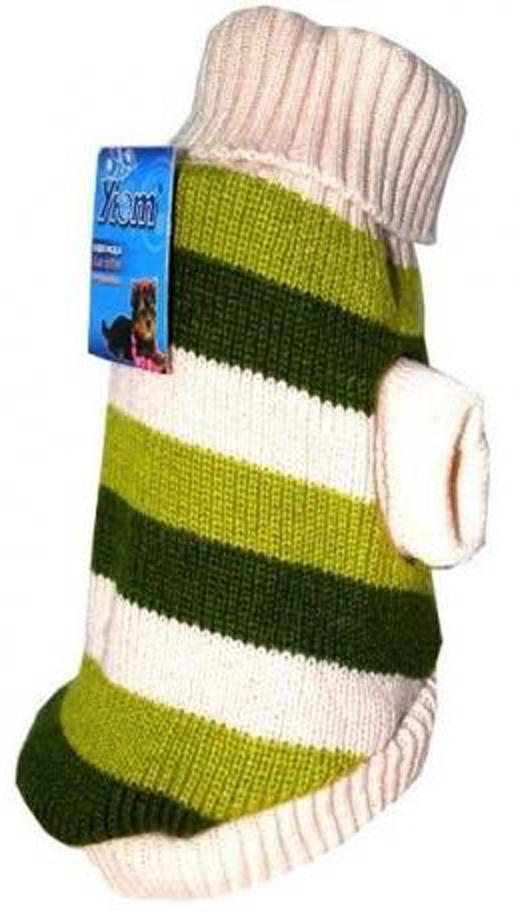 Свитер для собак Уют, унисекс, цвет: бежевый, зеленый. НМ3М. Размер MНМ3МКрасивый вязаный свитер для собак Уют выполнен из акрила. Рукава, воротник и низ изделия дополнены эластичными трикотажными резинками для плотного прилегания. Модель оформлена яркой полоской. В таком свитере вашей собачке будет тепло и уютно. Обхват шеи: 27-30 см.Обхват груди: 39-47 см.Длина спинки: 30 см.Одежда для собак: нужна ли она и как её выбрать. Статья OZON Гид