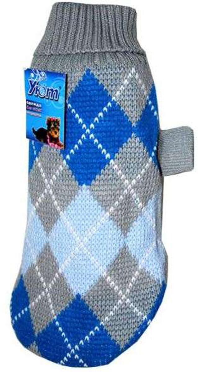 Свитер для собак Уют, унисекс, цвет: серый, синий. НМ6М. Размер MНМ6МКрасивый вязаный свитер для собак Уют выполнен из акрила. Рукава, воротник и низ изделия дополнены эластичными трикотажными резинками для плотного прилегания. Модель оформлена красивым узором в виде ромбов. В таком свитере вашей собачке будет тепло и уютно. Обхват шеи: 27-30 см.Обхват груди: 39-47 см.Длина спинки: 30 см.Одежда для собак: нужна ли она и как её выбрать. Статья OZON Гид