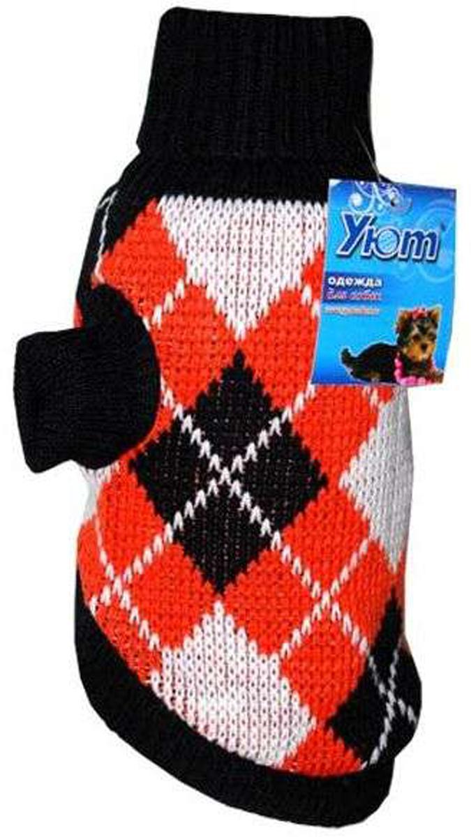 Свитер для собак Уют, унисекс, цвет: черный, оранжевый. НМ9Л. Размер LНМ9ЛКрасивый вязаный свитер для собак Уют выполнен из акрила. Рукава, воротник и низ изделия дополнены эластичными трикотажными резинками для плотного прилегания. Модель оформлена красивым узором в виде ромбов. В таком свитере вашей собачке будет тепло и уютно. Обхват шеи: 29-33 см.Обхват груди: 46-54 см.Длина спинки: 35 см.Одежда для собак: нужна ли она и как её выбрать. Статья OZON Гид