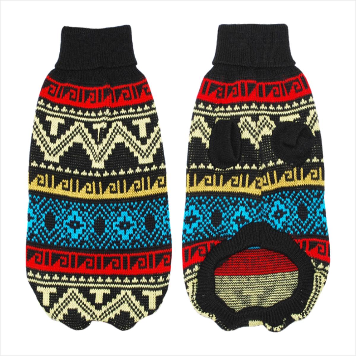 Свитер для собак Уют  Северный орнамент , унисекс, цвет: черный. НС12ХС. Размер XS - Одежда, обувь, украшения - Одежда