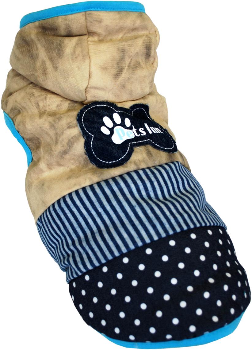 Куртка для собак Pet's INN  Косточка , унисекс, цвет: бежевый, синий. Пет12Л. Размер L - Одежда, обувь, украшения