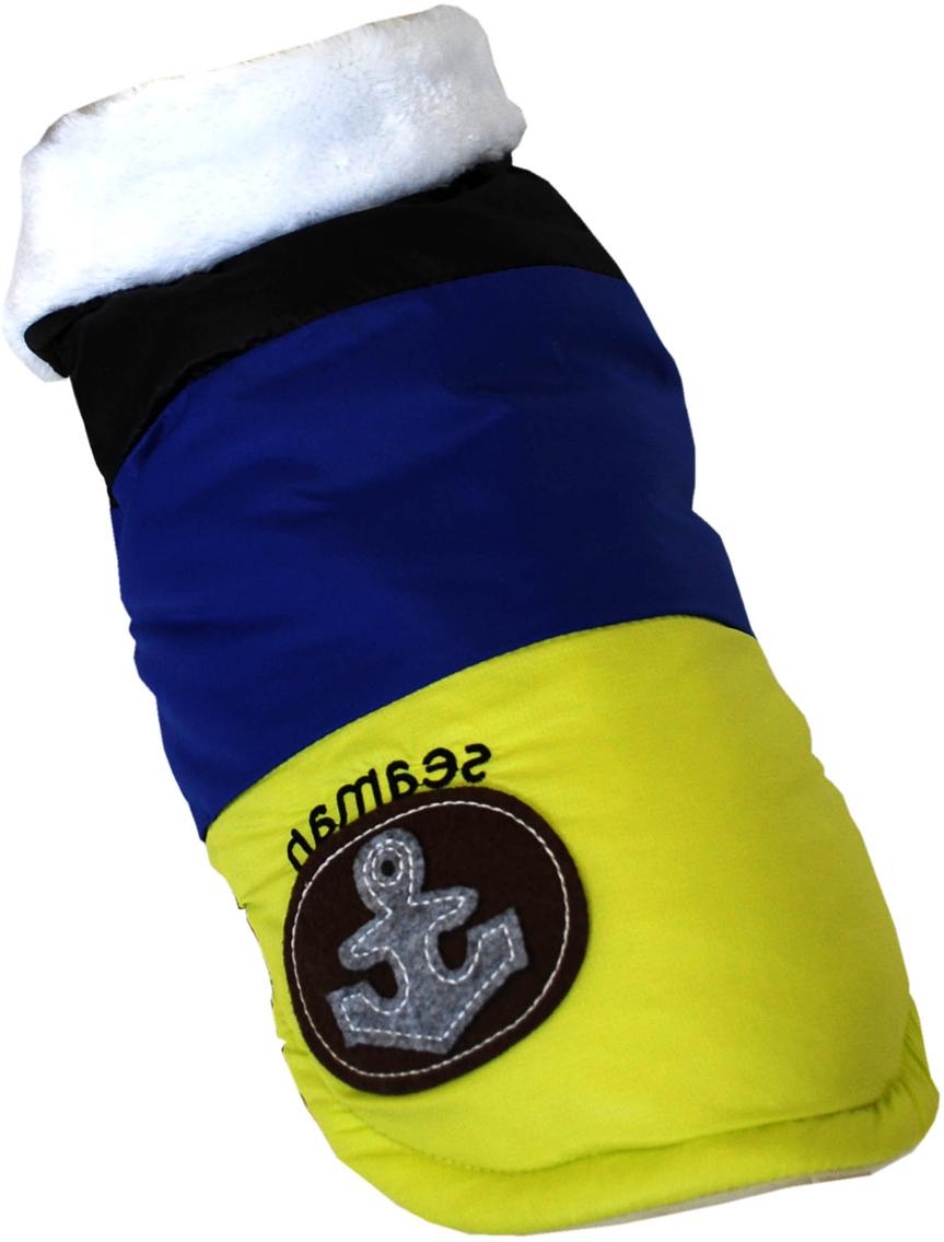 Куртка для собак Pets INN Якорь, цвет: черный, синий, желтый. Пет18Л. Размер LПет18ЛКуртка-жилет теплая, болонь, с подкладкой и меховым воротничком. Прекрасно подходит для прогулок в холодное время. Красивый дизайн от известного производителя! Размер по спинке 35 смОбхват шеи: 29-33 см.Обхват груди: 46-54 см.Длина спинки: 35 см.