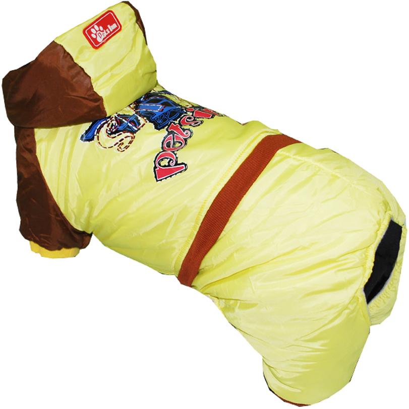 Комбинезон для собак Pets INN Самолет, цвет: желтый. Петс18ХС. Размер XSПетс18ХСКомбинезон с капюшоном Pets INN Самолет подходит для длительных прогулок. Комфортный и практичный. Обхват шеи: 22-24 см.Обхват груди: 27-33 см.Длина спинки: 20 см.Одежда для собак: нужна ли она и как её выбрать. Статья OZON Гид