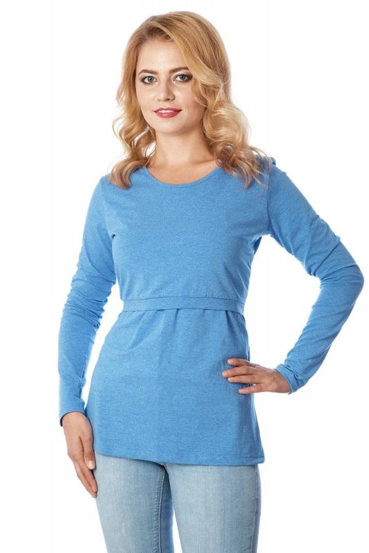 Лонгслив для беременных и кормящих Mums Era Basic, цвет: голубой. 35877. Размер M (46/48)35877Когда в простой футболке уже холодно, а в теплом джемпере еще жарко, идеальным решением станет лонгслив ТМ Mum's Era, который отлично подходит для беременных и кормящих. Модель с короткими рукавами и круглым вырезом горловины выполнена из эластичного хлопка.