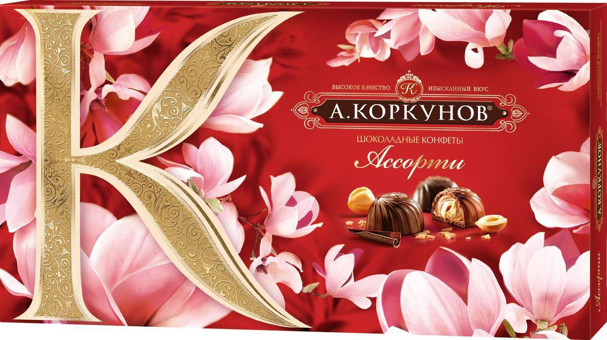 А.Коркунов весенняя коллекция Ассорти конфеты темный и молочный шоколад, 192 г kinder bueno вафли в молочном шоколаде с молочно ореховой начинкой 43 г