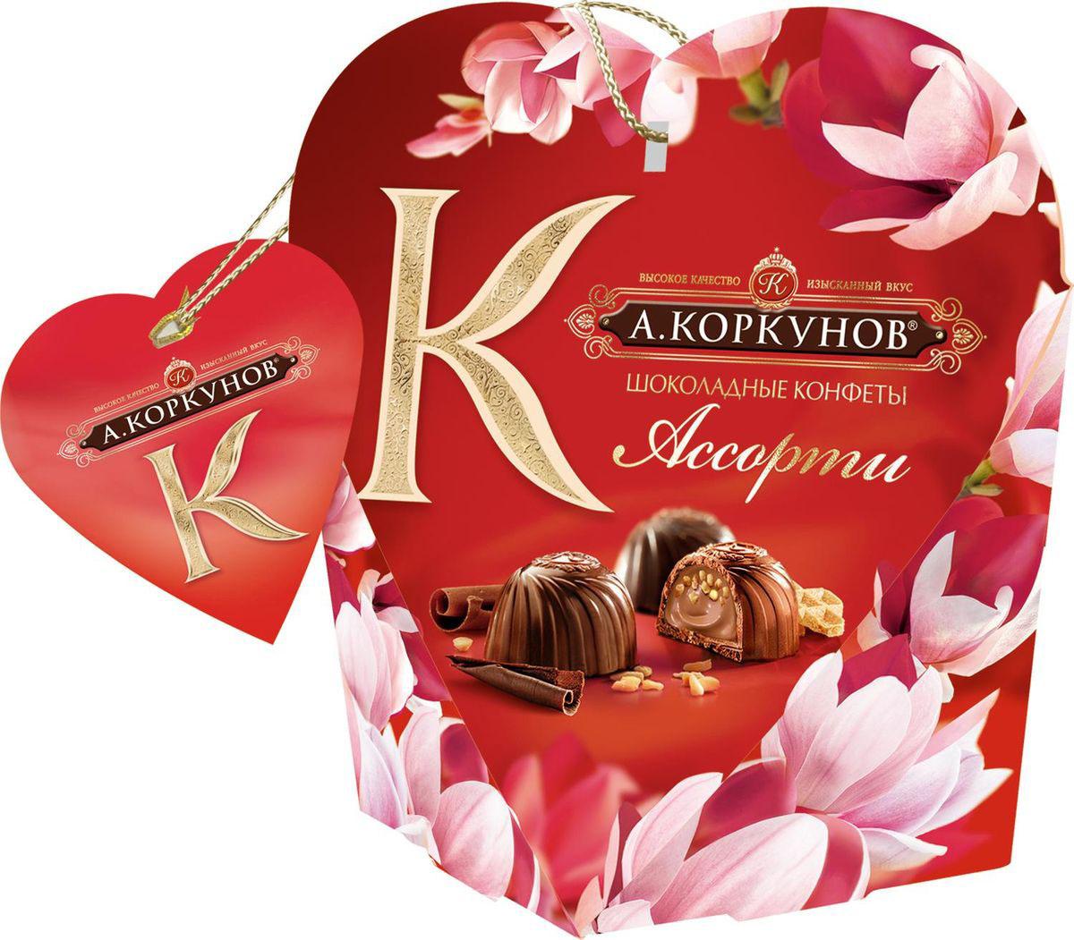 А.Коркунов весенняя коллекция Ассорти конфеты темный и молочный шоколад, 64 г а коркунов ассорти конфеты молочный шоколад 137 г