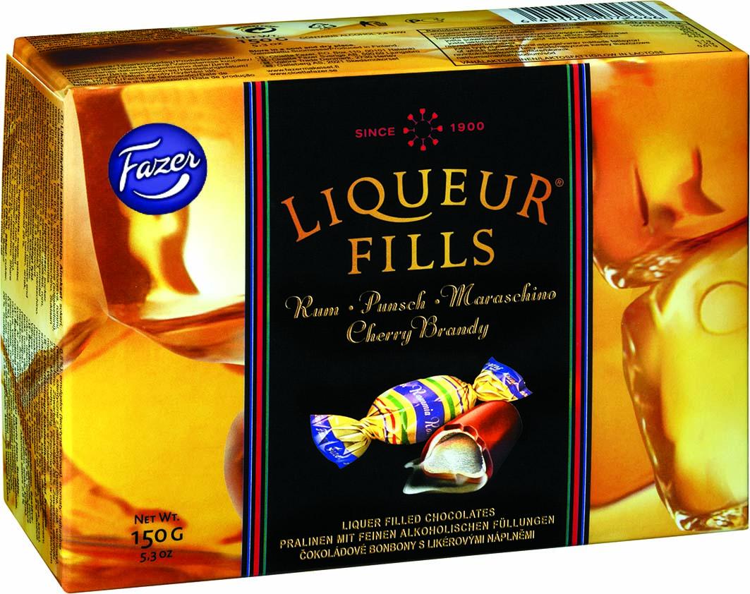 Fazer Liqueur Fills Конфеты шоколадные с ликером, 150 г конфеты круглые с ромом купить в иркутске
