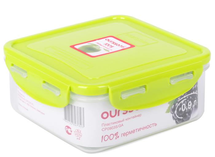 Контейнер Oursson Germetic Clip, 0,9 лCP0903S/GAКонтейнер Oursson изготовлен из высококачественного пластика. Изделие идеально подходит не только для хранения, но и для транспортировки пищи. Контейнер имеет крышку, которая плотно закрывается на 4 защелки и оснащена специальной силиконовой прослойкой, предотвращающей проникновение влаги, запахов и вытекание жидкости. Изделие подходит для домашнего использования, для пикников, поездок, отдыха на природе, его можно взять с собой на работу или учебу.Выдерживают температуру от -24°С до +125°С. Можно использовать в СВЧ-печах, холодильниках и морозильных камерах. Можно мыть в посудомоечной машине.Размер контейнера: 14,5 х 14,5 х 6 см.