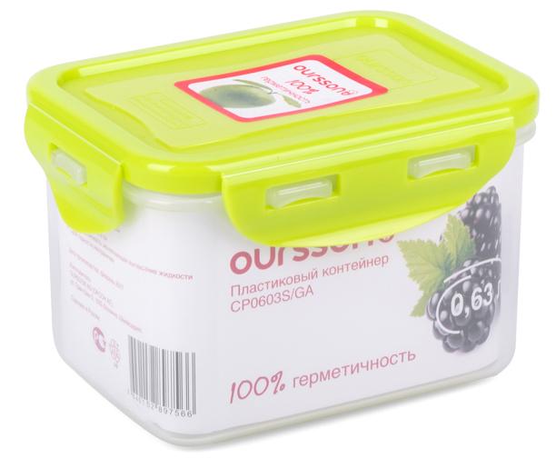 """Контейнер """"Oursson"""" изготовлен из высококачественного пластика. Изделие идеально подходит не только для хранения, но и для  транспортировки пищи.  Контейнер имеет крышку, которая плотно закрывается на 4 защелки и оснащена специальной силиконовой прослойкой, предотвращающей  проникновение влаги, запахов и вытекание жидкости.  Изделие подходит для домашнего использования, для пикников, поездок, отдыха на природе, его можно взять с собой на работу или учебу.   Выдерживают температуру от -24°С до +125°С.  Можно использовать в СВЧ-печах, холодильниках и морозильных камерах. Можно мыть в посудомоечной машине. Размер контейнера: 13 х 10 х 8,5 см."""