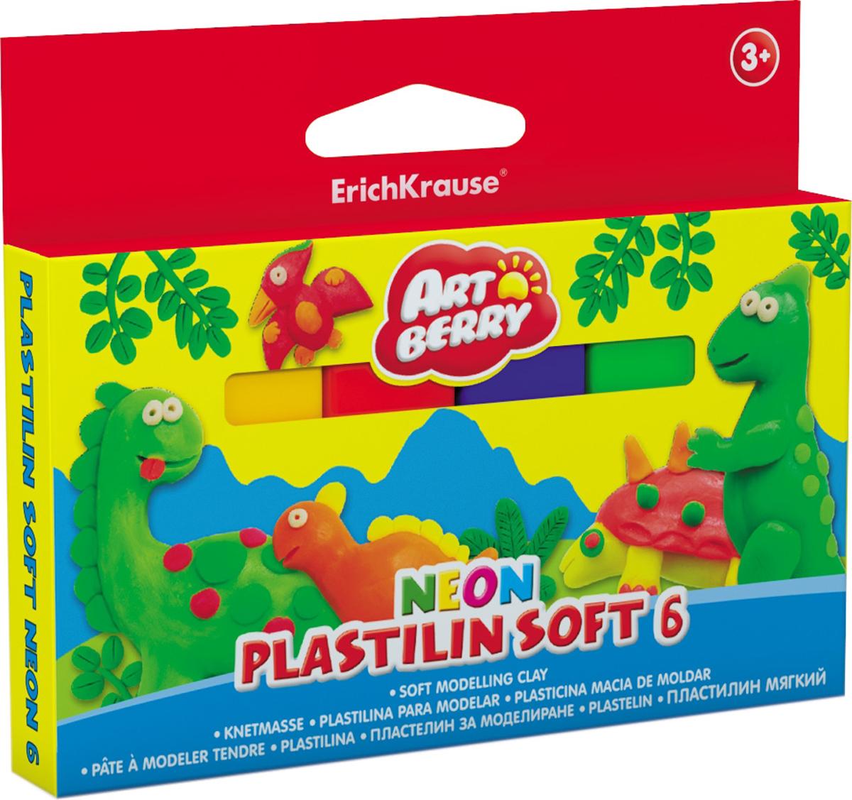 Erich Krause Пластилин мягкий Art Berry Neon 6 цветов 3898738987Пластилин ArtBerry с Алоэ Вера станет прекрасным подарком для вашего ребенка. Мягкий пластилин изготовлен полностью из экологический материалов. Алоэ Вера и вазелиновое масло, входящие в состав пластилина, обладают бактерицидными свойствами и увлажняющим эффектом. Мягкий пластилин легко разминается руками, поэтому им будет удобно изготавливать даже самые маленькие предметы. Не застывает на воздухе. Основу мягкого пластилина составляет кукурузный крахмал высокого качества, без содержания глютена. В упаковке 6 видов пластилина разных неоновых цветов, которые светятся под действием ультрафиолетовой лампы.