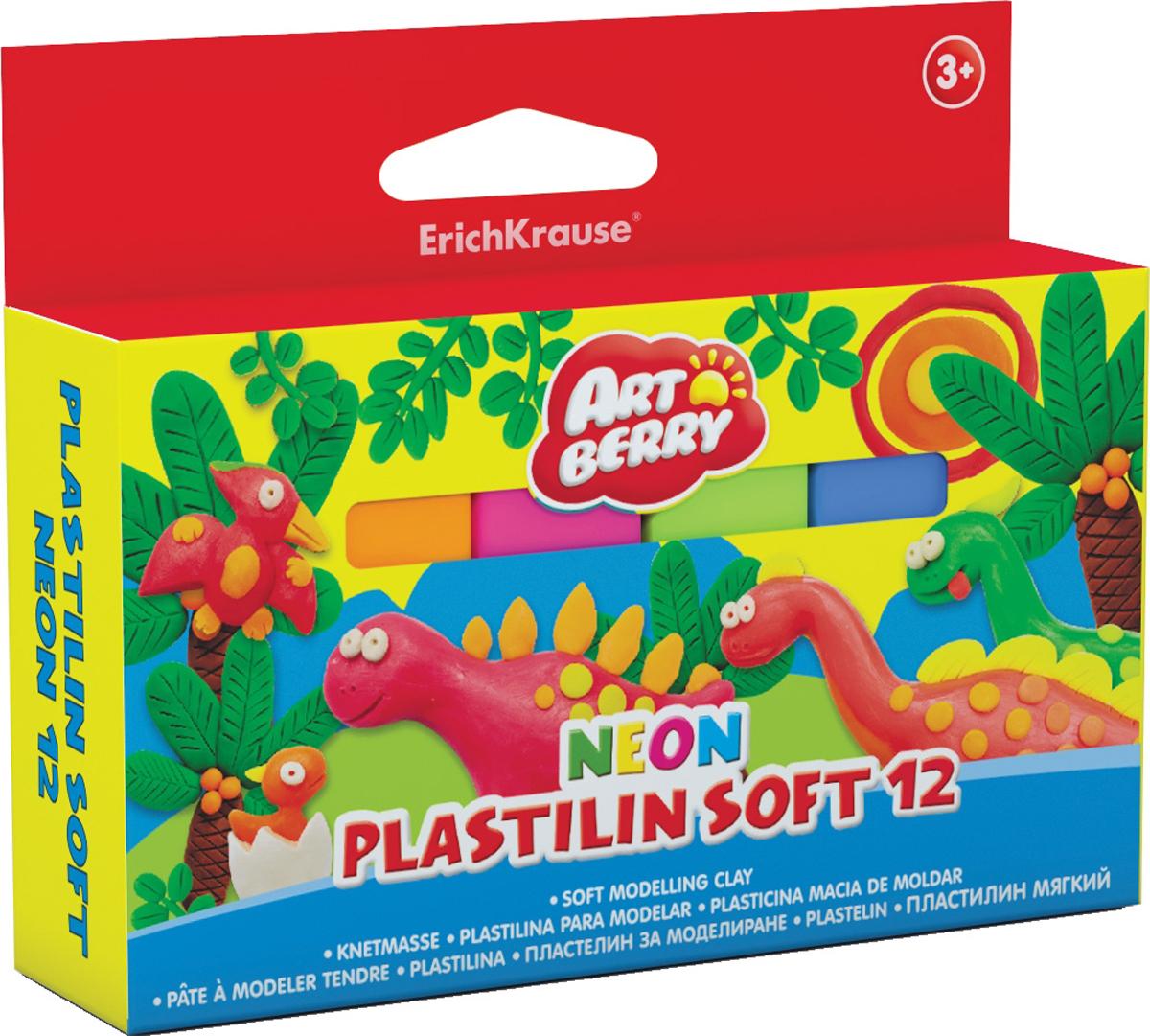 Erich Krause Пластилин мягкий Art Berry Neon 12 цветов 3898838988Пластилин ArtBerry с Алоэ Вера станет прекрасным подарком для вашего ребенка. Мягкий пластилин изготовлен полностью из экологический материалов. Алоэ Вера и вазелиновое масло, входящие в состав пластилина, обладают бактерицидными свойствами и увлажняющим эффектом. Мягкий пластилин легко разминается руками, поэтому им будет удобно изготавливать даже самые маленькие предметы. Не застывает на воздухе. Основу мягкого пластилина составляет кукурузный крахмал высокого качества, без содержания глютена. В упаковке 12 видов пластилина разных неоновых цветов, которые светятся под действием ультрафиолетовой лампы.