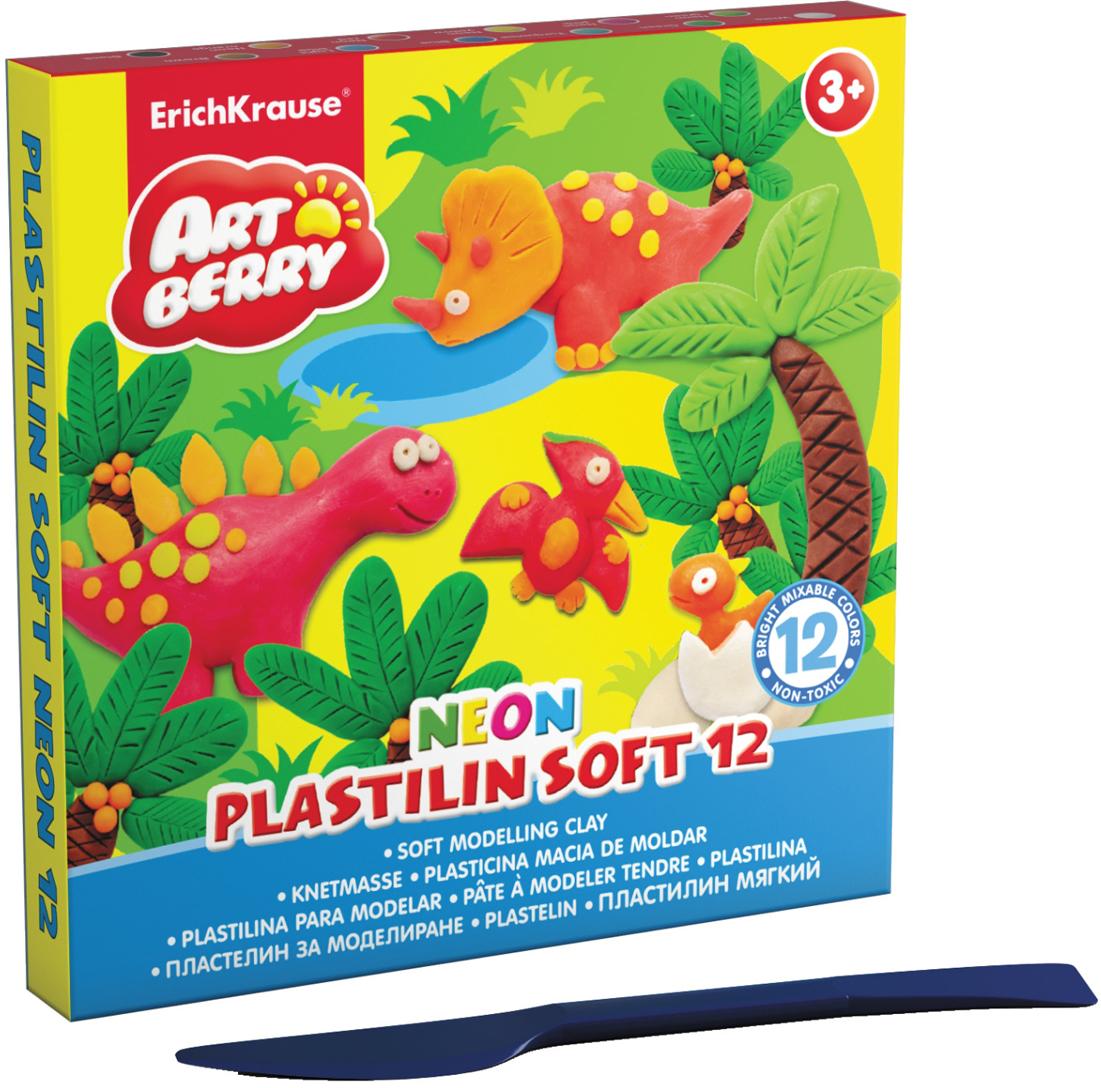 Erich Krause Пластилин мягкий Art Berry Neon 12 цветов 3899038990Пластилин ArtBerry с Алоэ Вера станет прекрасным подарком для вашего ребенка. Мягкий пластилин изготовлен полностью из экологический материалов. Алоэ Вера и вазелиновое масло, входящие в состав пластилина, обладают бактерицидными свойствами и увлажняющим эффектом. Мягкий пластилин легко разминается руками, поэтому им будет удобно изготавливать даже самые маленькие предметы. Не застывает на воздухе. Основу мягкого пластилина составляет кукурузный крахмал высокого качества, без содержания глютена. В упаковке 12 видов пластилина разных неоновых цветов, которые светятся под действием ультрафиолетовой лампы.