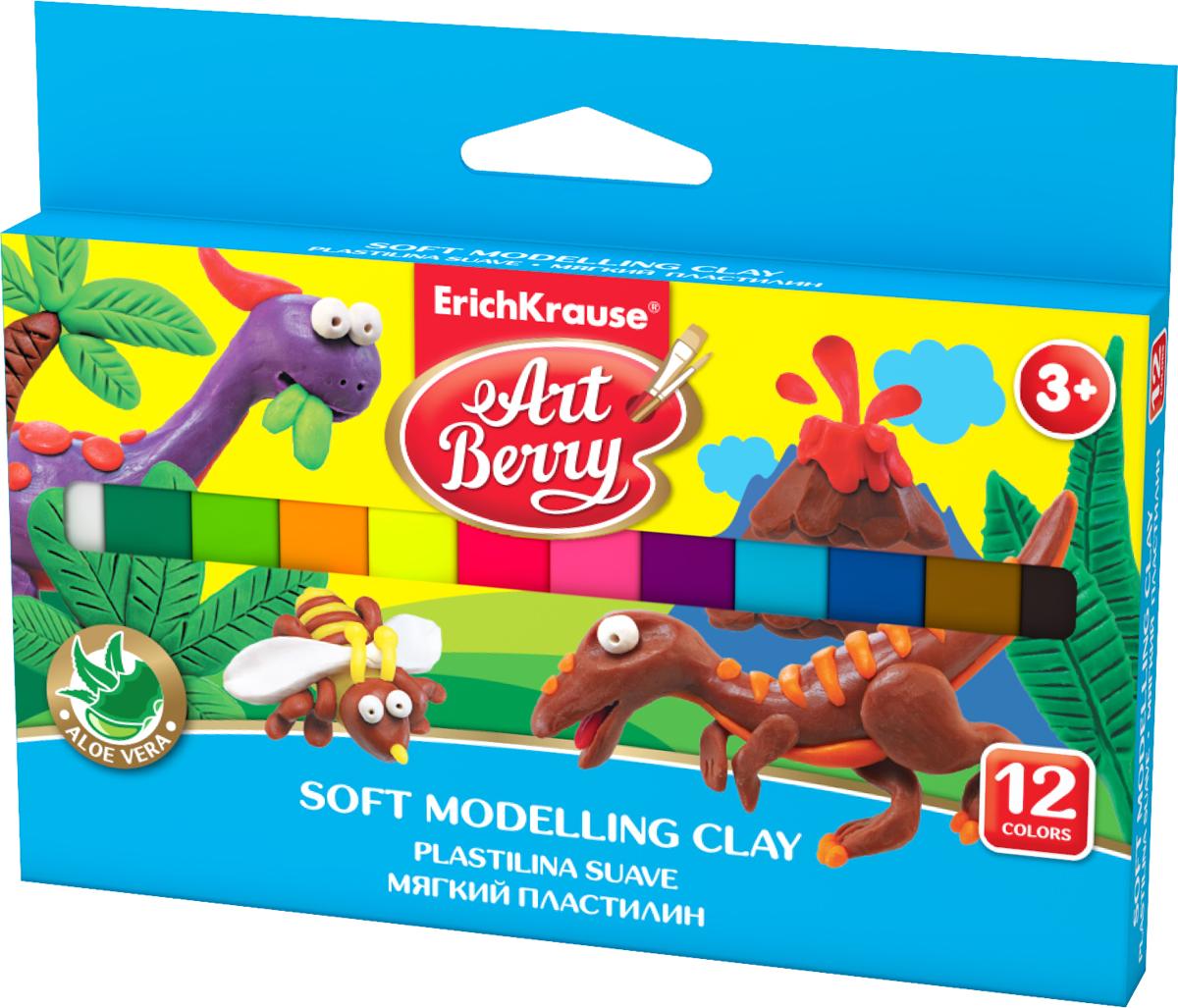 Erich Krause Пластилин мягкий Art Berry 12 цветов 4177941779Пластилин ArtBerry с Алоэ Вера станет прекрасным подарком для вашего ребенка. Мягкий пластилин изготовлен полностью из экологический материалов. Алоэ Вера и вазелиновое масло, входящие в состав пластилина, обладают бактерицидными свойствами и увлажняющим эффектом. Мягкий пластилин легко разминается руками, поэтому им будет удобно изготавливать даже самые маленькие предметы. Не застывает на воздухе. Основу мягкого пластилина составляет кукурузный крахмал высокого качества, без содержания глютена. В упаковке 12 видов пластилина разных цветов. <br