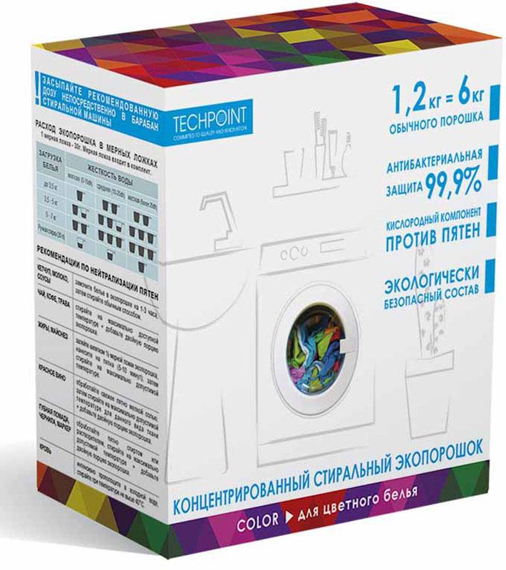 Стиральный порошок Techpoint, концентрированный, для цветного белья, 1,2 кг8081Инновационный продукт на основе натурального мыла для цветного белья. Без фосфатов, без оптических отбеливателей, без формальдегидов, не раздражает кожу, контроль пенообразования, биоразлагаем более чем на 99%, не оставляет следов на белье, не токсичен.. Антибактериальный компонент: комплексная защита ионами серебра.