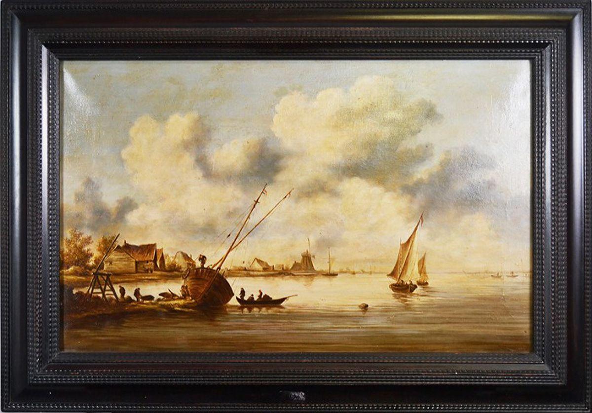 Картина Устье реки. Холст, масло. Голландия(?), 19 век картины artangels картина хозяин дома