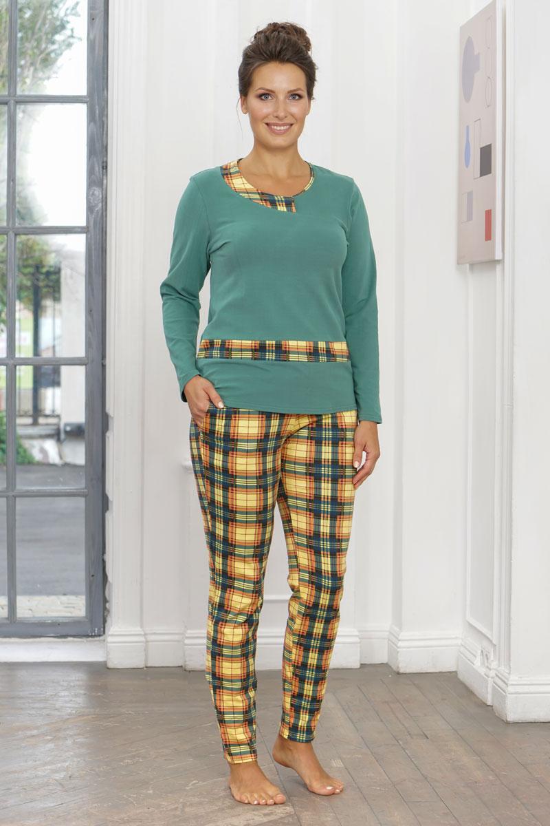 Комплект домашний женский Cleo Клетка, цвет: зеленый. 798. Размер 48
