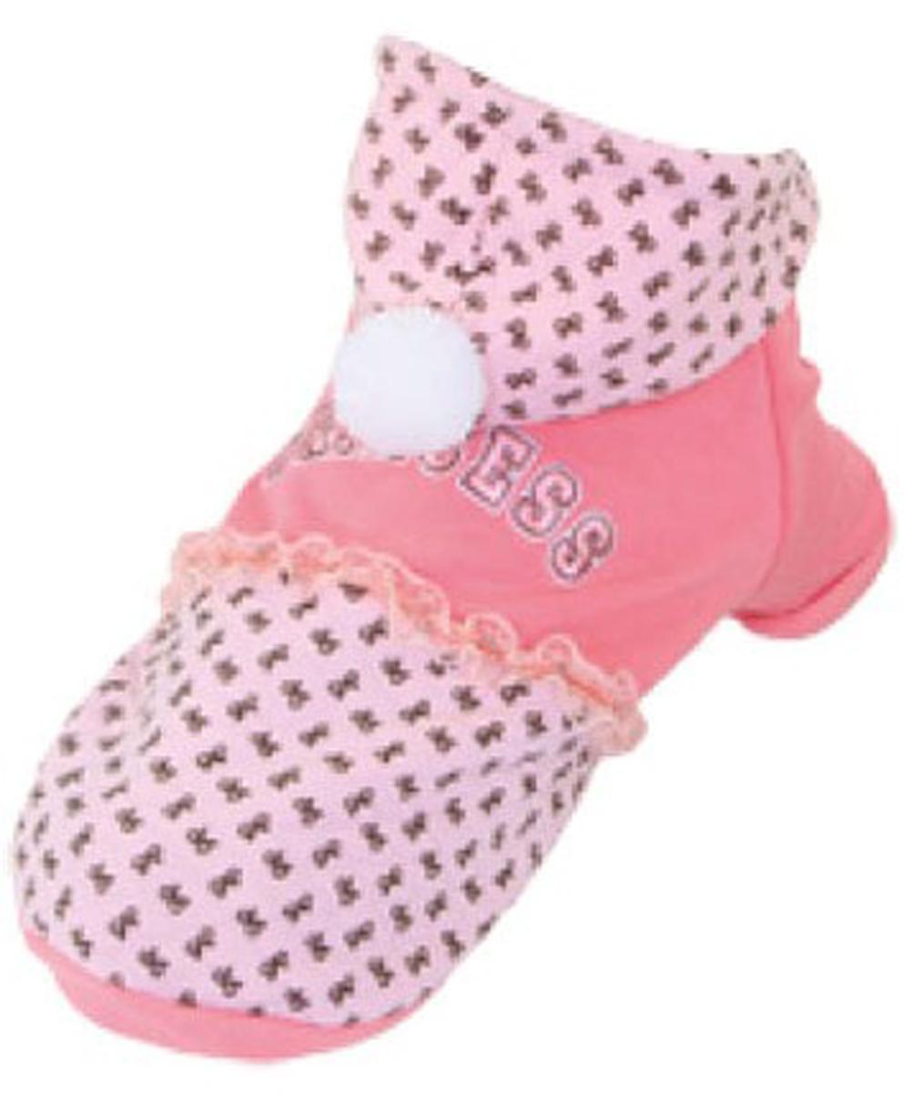 Куртка для собак Dobaz, цвет: розовый. ДА13056АХС. Размер XSДА13056АХСМягкая, легкая, пушистая, теплая куртка для собак Dobaz с капюшоном. На спинке нарядная вышивка Princess.Можно использовать в качестве домашней одежды и на улице в недождливую погоду.Обхват шеи: 20 см.Обхват груди: 31 см.Длина спинки: 21 см.Одежда для собак: нужна ли она и как её выбрать. Статья OZON Гид