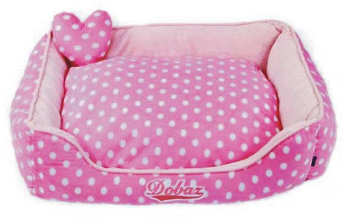 Лежанка для животных ДОБАЗ, цвет: розовый, белый, 65 х 65 х 20 см лежаки для животных happy house подушка блок luxsury living мятный m 110 75 15 см для домашних животных