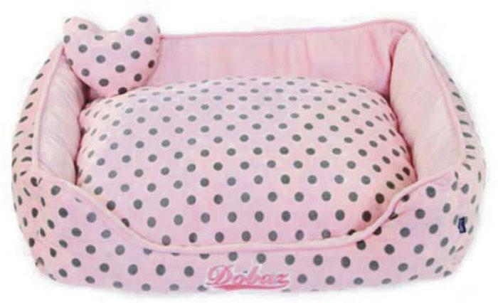 Лежанка для животных ДОБАЗ, цвет: светло-розовый, серый, 55 х 55 х 19 см лежаки для животных
