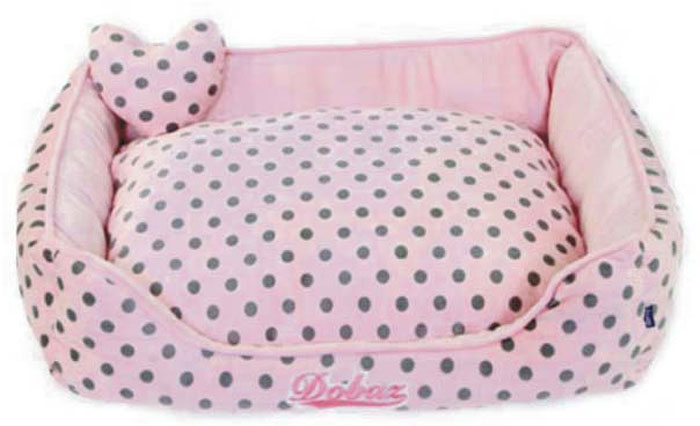 Лежанка для животных ДОБАЗ, цвет: светло-розовый, серый, 65 х 65 х 20 см лежаки для животных