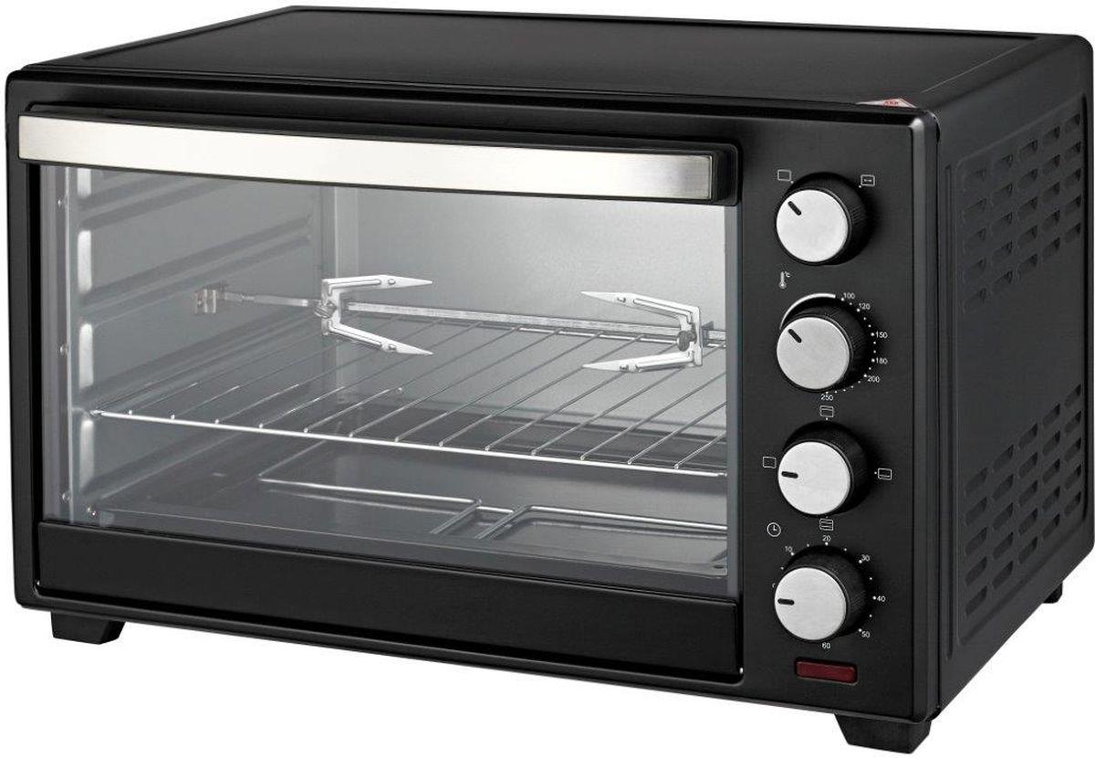 Tesler EOG-4800, Black мини-печьEOG-4800 BLACKЭлектрическая настольная духовка с механическим типом управления. Мощность при максимальной нагрузке может достигать 2 кВт, этого достаточно, чтобы запечь целую курицу, приготовить любимое блюдо гриль, испечь пирогов и сладостей для самых маленьких членов семьи. Духовка выполнена из высококачественного металла, дверца имеет жаропрочное стекло. Удобство и безопасность пользования также обеспечивает звуковой таймер с системой автоматического отключения, несколько режимов работы и богатый набор дополнительных аксессуаров. Небольшие габариты – еще одно преимущество модели, подобная конструкция позволяет легко перемещать прибор на кухне, транспортировать его и устанавливать в любом удобном месте. Режим гриль и вертел в комплекте обеспечивают комфорт пользования в процессе приготовления блюд на шампуре, а наличие держателей для вертела и поддона гарантируют полную безопасность и предоставляют возможность экспериментировать с любыми рецептами.