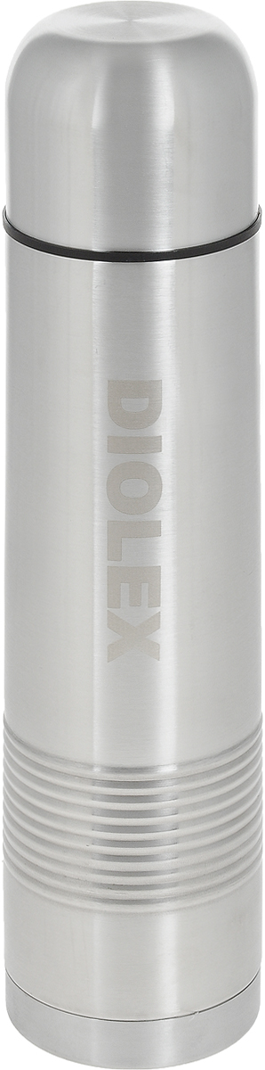"""Термос """"Diolex"""" изготовлен из высококачественной нержавеющей стали, с ребристой поверхностью на корпусе. Он имеет небьющуюся двойную внутреннюю колбу и изолированную крышку. Термос сохраняет напитки и продукты горячими в течение 12 часов, а холодными в течение 24 часов. Легкий и прочный термос """"Diolex"""" идеально подойдет для транспортировки и путешествий.   Высота термоса (с учетом крышки): 33 см. Диаметр основания: 8 см. Объем термоса: 1 л. Материал: нержавеющая сталь, пластик."""