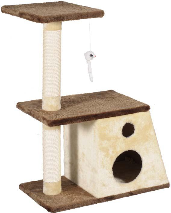 Игровой комплекс для кошек  Уют : домик-трапеция, когтеточка, две полки и игрушка - Когтеточки и игровые комплексы