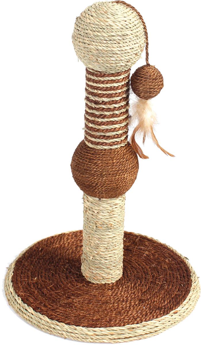 Когтеточка  Уют , сизаль, на подставке с игрушкой, 30 х 30 х 46 см - Когтеточки и игровые комплексы