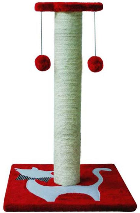 Когтеточка  Уют , сизалевая, с двумя игрушками, 38 х 38 х 58 см - Когтеточки и игровые комплексы