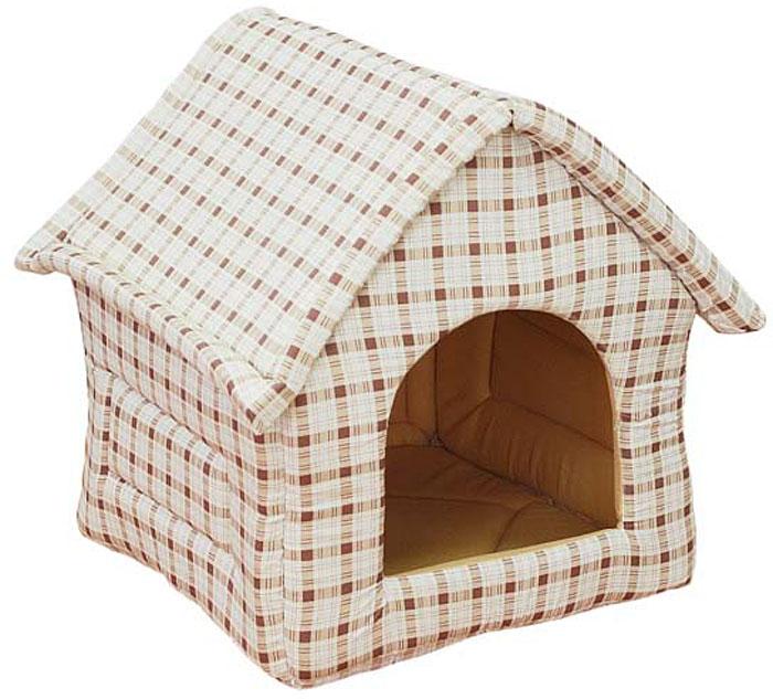 Домик для животных Уют  Fashion , цвет: шоколад, бежевая клетка, 37 х 35 х 37 см - Лежаки, домики, спальные места