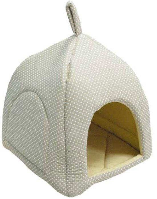 Домик-юрта для животных Уют  Fashion , цвет: бежевый в белый горох, 35 х 35 х 35 см - Лежаки, домики, спальные места