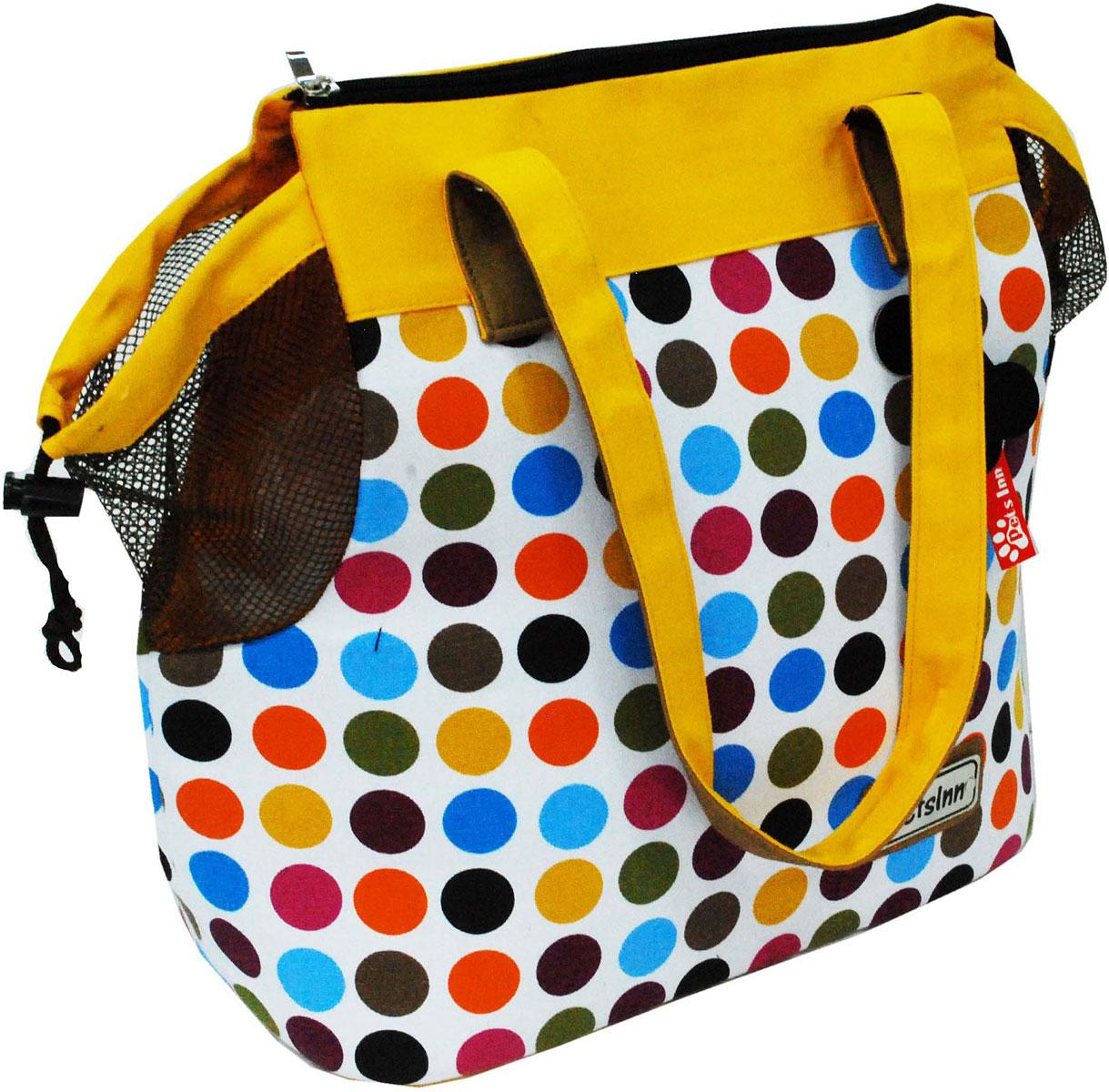 Сумка-переноска для животных Pets Inn, цвет: желтый, разноцветные кружочки, 34 х 16 х 36 см сумка переноска для животных теремок цвет голубой синий белый 44 х 19 х 20 см