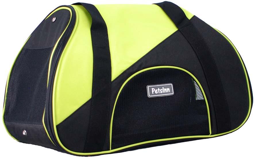 Сумка-переноска для животных Pets Inn, спортивная, цвет: черный, зеленый, 47 х 24 х 28 см сумка переноска для животных теремок цвет голубой синий белый 44 х 19 х 20 см