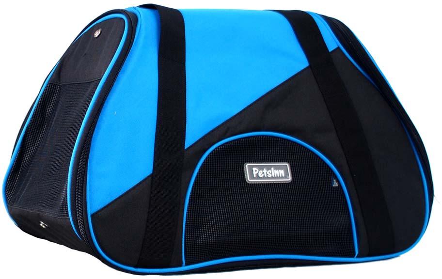 Сумка-переноска для животных Pets Inn, спортивная, цвет: черный, голубой, 47 х 24 х 28 смСм21Разборная сумка-переноска для животных Pets Inn выполнена из плотной ткани. Застежка на молнии. Подкладка на липучках. Длинный ремешок на плечо. Торцевые стенки снабжены сеткой для вентиляции. Такая сумка-переноска идеально подойдет для вашего питомца.