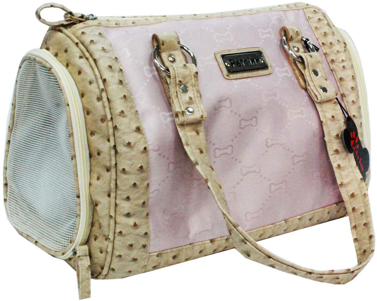 Сумка-переноска для животных Pets Inn, цвет: розовый с бежевой окантовкой, 52 х 52 х 22,5 смСм3Разборная сумка-переноска для животных Pets Inn отлично подойдет для вашего питомца. Застежка на молнии. Короткая ручка для переноски в руке. Торцевые стенки снабжены сеткой для вентиляции.