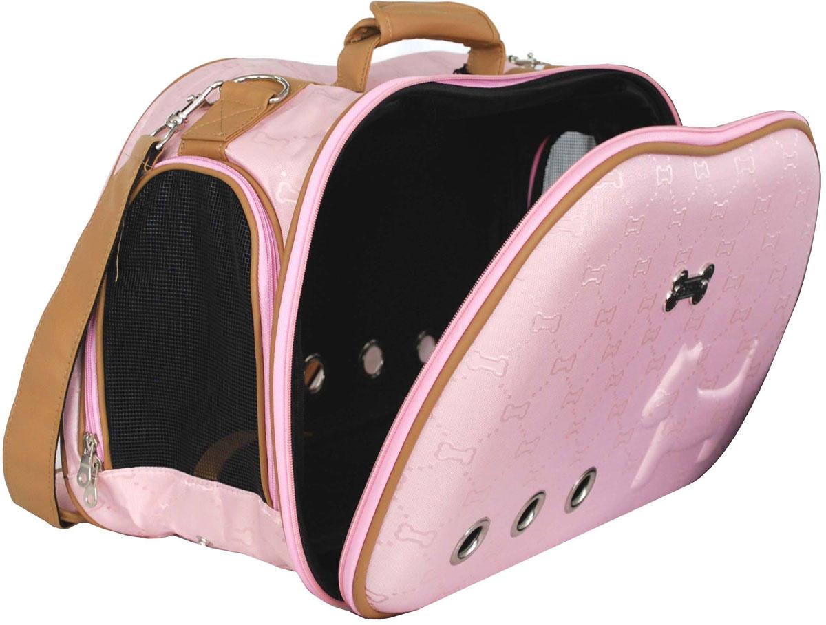Сумка-переноска для животных Pets Inn, цвет: розовый, 50 х 20 х 31 смСМ0511Сумка-переноска для животных Pets Inn, выполненная из плотной ткани, открывается сверху и по бокам, на боковых стенках - сетка. Имеет удобную ручку и плечевой ремень, который отстегивается.Сумка-переноска Pets Inn идеально подойдет для вашего питомца.