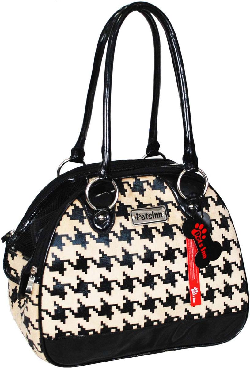 Сумка-переноска для животных Pets Inn, цвет: бежевый, шанель, 33 х 17 х 27 см сумка переноска для животных теремок цвет голубой синий белый 44 х 19 х 20 см
