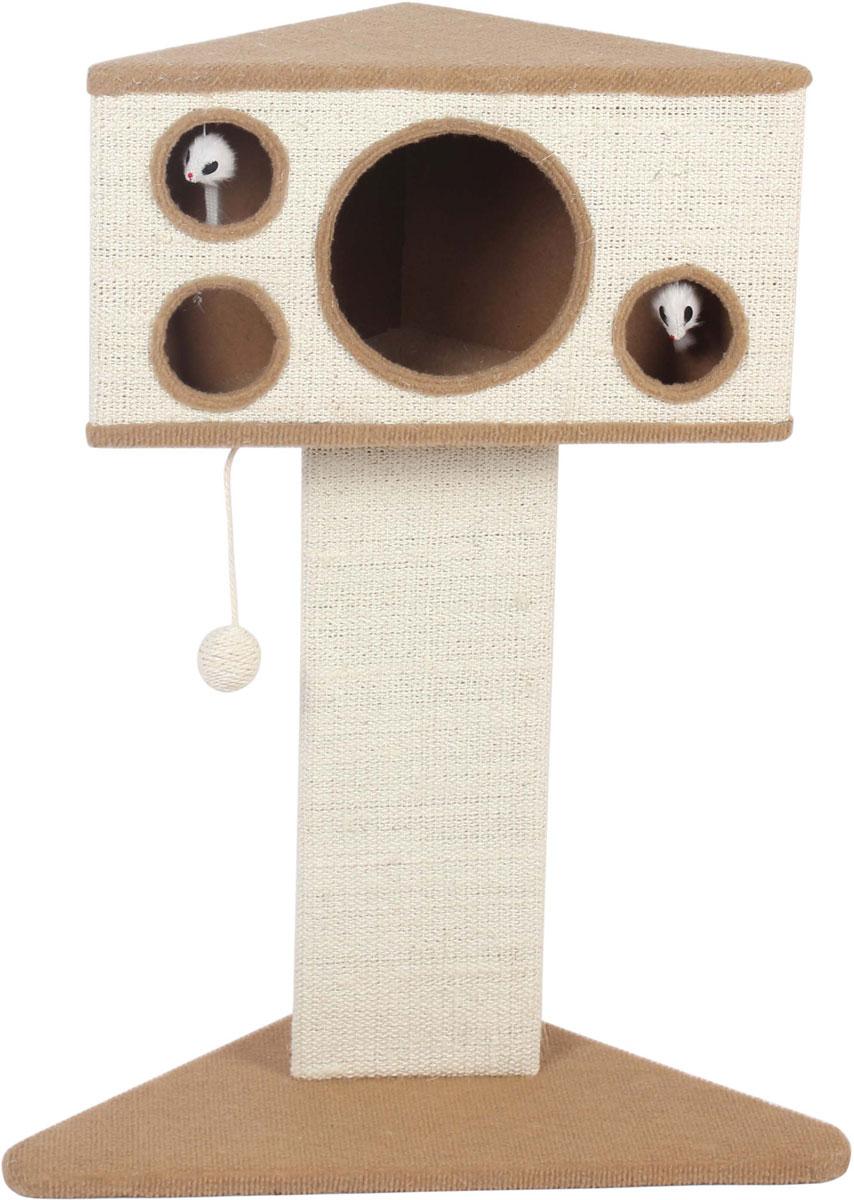 Домик для кошек угловой Уют, на подставке-когтеточкеНМ111213Когтеточка с домиком для кошек помогает ухаживать за когтями вашего питомца, а также является замечательным местом для игр и отдыха. Комфортный и компактный этот городок непременно понравится вашему питомцу.Уют домик угловой с отверстиями на подставке-когтеточке