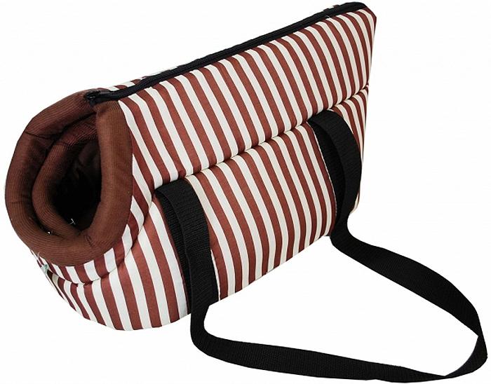 Сумка-переноска для животных №1 Фэшн, цвет: коричневый, 50 х 29 х 26 см810395/2Текстильная сумка-переноска №1 Фэшн имеет твердое основание, которое не позволит животному провисать. Ваш питомец может просунуть голову наружу. Сумка-переноска закрывается сверху на застежку-молнию. Также в сумке есть специальная вставка для уплотнения. Для удобной переноски у сумки имеются две ручки.